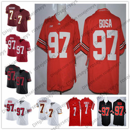 Canada 2019 pas cher OSU n ° 97 Nick Bosa 7 Dwayne Haskins Jr. Rouge Noir Couleur Rush Blanc Pas Cher Ohio State Buckeyes Cousu Maillots Footall NCAA supplier football jerseys color Offre