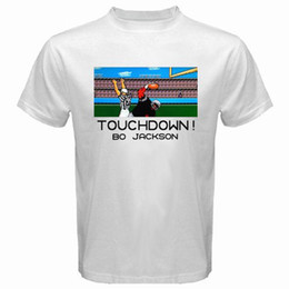 19389af82 TECMO BOWL Bo Jackson Retro Classic Video Game Men s White T-Shirt Size  S-3XL 2018 Short Sleeve Cotton T Shirts Man Clothing