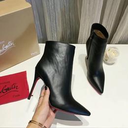 Argentina Mujer de alta calidad Marca de moda Botines de tacón Zapatos de cuero Real zapatos de invierno / otoño Botas EMS / DHL gratis con caja por zapatos 07 cheap heels dhl Suministro