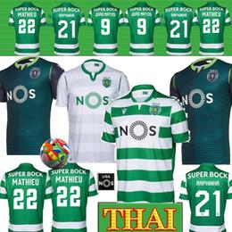 Sporting lisbon trikots online-Thai 19 20 Sporting Lissabon Hauptfußball Jerseys weg grüne # 4 COATES # 9 ACUNA Fußball-Hemden weiße kurze Hülse Fußballbekleidung