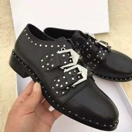 locomotive shoes Coupons - Autumn Winter Rivets Leather Buckle Oxford Derby Shoe Women's Small Shoes Low-Heeled Street Handsome Shoes Punk Style Rivet Locomotive Shoe