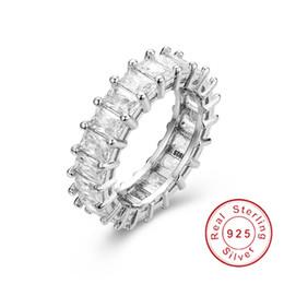 925 побитых камнями колец онлайн-925 серебро проложить Лучистый вырезать полный квадрат имитация Алмаз CZ вечности группа обручальное обручальное каменное кольцо ювелирные изделия размер 5,6,7,8,9,10,11,12
