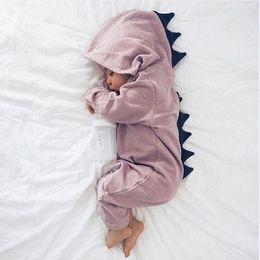2019 mamelucos del traje Baby Boy Girl Traje de Dinosaurio 3D Sólido rosado gris Mamelucos cálido primavera otoño mameluco de algodón Traje Ropa rebajas mamelucos del traje