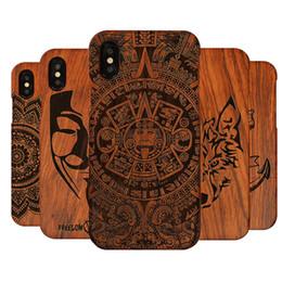 capas de madeira esculpidas Desconto Esculpida tigre dragão luxo telefone de madeira case para apple iphone x xs max xr 5 5s se 6 6 plus 6 s 7 8 plus full case de madeira cobrir