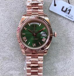 2019 мужские часы зеленый золото Открытый автоматические механические мужские часы Часы 40 мм оливково-зеленый циферблат с фиксированной рифленый безель и розовое золото Браслет из нержавеющей стали скидка мужские часы зеленый золото