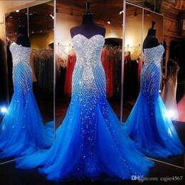 nouvelle robe de bal longue luxe Promotion 2019 nouveau luxe océan bleu bretelles perlées sirène longue robes de bal Tulle cristaux Balayage formelle robes de soirée