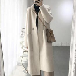 punto abrigos de piel de visón mujeres Rebajas Original suéter de cachemira de visón mujeres de cachemir puro cardigan de punto de visón jacketn invierno largo abrigo de pieles envío gratis 2019 DC486