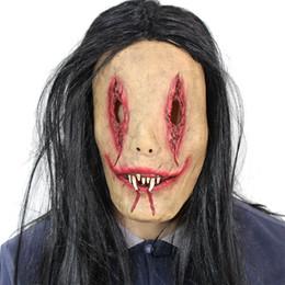 2019 máscara de fantasma rosto cheio Terror Adulto Diabo Rosto Cheio de Halloween Bar Bola de Natal Prop látex Máscara Do Partido Fantasma Assustador com o Cabelo máscara de fantasma rosto cheio barato