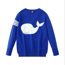 2019 koreanische frauen pullover langarm design Gestreifter Pullover mit V-Ausschnitt Whale Printed Blue Cardigans Damen Luxus Damen Designer Pullover Pull Femme Shark Strickjacke Damen Pullover