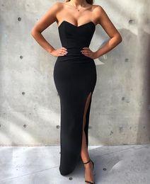 Jersey bal en Ligne-2019 Date Black Mermaid Prom robes Sexy Side Slit Longueur De Plancher Sans Bretelles Robe De Soirée Formelle Plus La Taille Custom Made Robe De Fête De Cocktail
