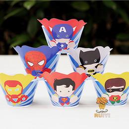 Suministros para la fiesta de los vengadores online-24pcs / lot Avengers Cake Box Superman Batman envolturas de la magdalena primeros de la decoración de la fiesta de cumpleaños de los niños Superhero Suministros Cupcake Cases Liner