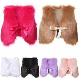 2019 chalecos de piel sintética niños 1-5T Bebé niñas Piel Caliente Chaleco Chaleco de invierno Moda niños Boutique abrigo 6 colores Outwear B11 chalecos de piel sintética niños baratos