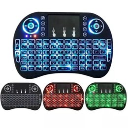 беспроводная клавиатура stb Скидка Rii I8 Fly Air Mouse 2.4 Г Красочная подсветка с подсветкой Беспроводная сенсорная клавиатура Многофункциональный для ПК Pad Android TV Box MXQ V88 X96