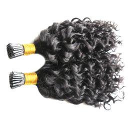 связанный волосами Скидка 7А Необработанные Девственные Монгольские Кудрявые Вьющиеся Волосы Кератиновые Капсулы Человеческих Сращенных Волос Ногтей
