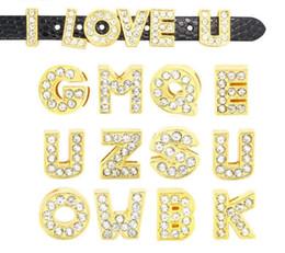 cavo di cuoio dell'oro all'ingrosso Sconti A-Z strass oro pieno lettere fai da te fascino per cinturini in pelle braccialetto cinturino accessori gioielli braccialetto all'ingrosso