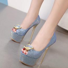 2019 sapatos de baile de ouro preto 16 cm Glitter azul grande gem peep toe plataforma de salto alto sapatos de ouro preto mulheres prom tamanho 34-40 desconto sapatos de baile de ouro preto