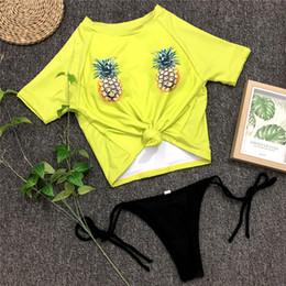 2019 maillot de bain ananas Maillot de bain femme bikini plage deux pièces ensemble ananas imprimé Maillot de bain sport maillot de bain sexy maillot de bain natation promotion maillot de bain ananas