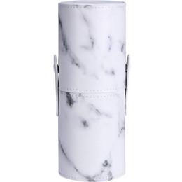 Pinceles de maquillaje porta vasos online-Patrón de mármol de cuero de la PU Portátil Maquillaje Cepillo Holder Cosméticos Maquillaje Organizador de almacenamiento de taza