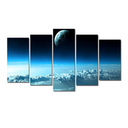 moon paintings Coupons - 5 Pcs Combinations HD Fantasy Moon Planet sea of clouds Unframed Canvas Painting Wall Decoration Printed Oil Painting poster