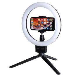 """Morsetti luminosi online-Anello LED Cell Phone 10W 7 """"Selfie Ring Lampada 2800-5500K Illuminazione fotografica con treppiede Moblie Phone Clamp US Standard"""