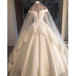 Velos blancos online-Soñadora Hombro Simple White vestido de novia de la novia vestido de bola Backless atractivos más el tamaño de vestidos de novia con velo