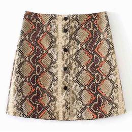 2019 мини-юбки ANSFX Stylish Snake Pattern Single-breasted PU Leather Mini Skirt Fashion Women High Waist Faux Leather A-Line Short Skirt скидка мини-юбки