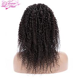 """Peluca del cordón del pelo de malasia online-Queen Love Hair Curly Lace Front Pelucas de cabello humano 10 """"-22"""" Largo 4x4 Tamaño de encaje Frontal Virgen 100% Malasia Pelucas de cabello humano"""