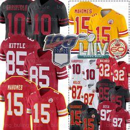 camisas de rugby da faculdade Desconto 97 Nick Bosa San Francisco49ers Jerseys 85 George Kittle Chief 15 Patrick Mahomes Kansas City 10 Jimmy Garoppolo Travis Kelce Mathieu