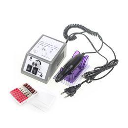 Nagelbohrer eu online-Elektrische Nagelbohrmaschine Maniküre Set Datei Grau Nail Pen Machine Set Kit Mit EU Stecker Freies Verschiffen