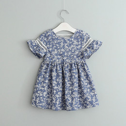 10a22c25b31 2019 Girls Cotton Floral Printed Dress Kids Flare Sleeve Blue and white  porcelain Dresses Baby Back Lace Hollow Skirt Clothing design Cloth