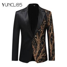 2019 estilos de esmoquin europeo YUNCLOS 2019 Un solo pecho de lentejuelas traje de la etapa de la chaqueta de los hombres del partido Hip Hop traje moda impresión digital traje de Damas Blazer
