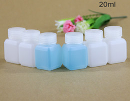 Полупрозрачный квадрат пластик онлайн-(200 шт./лот) 20 мл прозрачный толстый квадратный HDPE химическая бутылка, жидкий пластиковая бутылка
