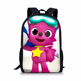 custom print backpack Coupons - THIKIN Cartoon Pinkfong Design Cute Backpack for Girls Boys Bookbag Teenagers Cool Schoolbag Children Custom 3D Print