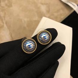 vero ottone Sconti Ottimi orecchini in ottone di alta qualità con perle blu e grigie, placcato oro 18k, regalo di nozze placcato oro PS6688A