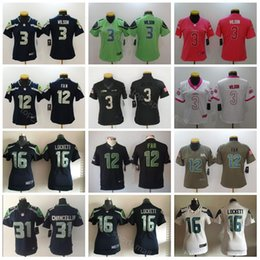 03e1cb4d3 Seattle Seahawks Frauen-Trikot 3 Russell Wilson 12 12. Fan 31 Kam  Chancellor 16 Tyler Lockett Lady Fußballtrikots günstig 12th fan