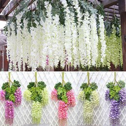 kids craft room Coupons - Wholesale 12pcs Rattan Strip Wisteria Artificial Flower Vine For Wedding Home Party Kids Room Decoration DIY Craft Fake Flowers
