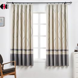 оптовая соломенная нить Скидка 1 PCS W100xL200cm Stripe Print Curtain for Living Room Simple Modern Cafe Kitchen Cortinas PC008C