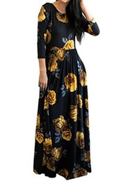 maxi swing dress Promo Codes - MITILLY Women's Floral Print 3 4 Sleeve Pockets Casual Swing Pleated Long Maxi Dress