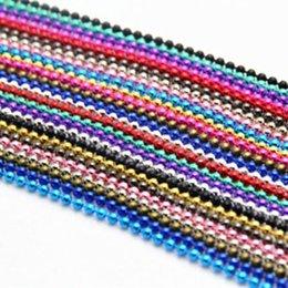 Cadeia de cordão de 2mm on-line-Atacado-Atacado Pick 13Colors 10Strand Ball Beads Cadeia Summer Jewelry Colar 2mm Bead Connector 70cm Colares Pingentes B00471