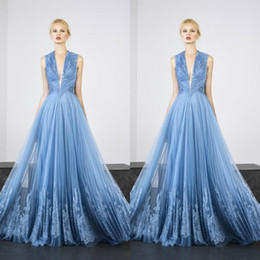 2021 vestidos de tony ward Tony Ward 2019 Elegant Evening Dresses Sexy Deep V Neck Sleeveless Lace Appliques Prom Gowns Floor Length A Line Special Occasion Dress vestidos de tony ward baratos