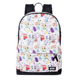 2019 mochila de personaje mochila Kpop BTS BT21 Bangtan Boys TATA COOKY SHOOKY Mochila escolar Mochila Bolsa de almacenamiento de dibujos animados Mochila Bolsas de deporte