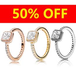Rosa amarilla conjuntos de joyas online-18 quilates de oro rosa de oro amarillo CZ Diamond RING Anillo original para Pandora 925 Sterling Silver Timeless Elegance Ring Set Joyería de regalo para mujer
