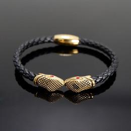 pulseiras de punho jóias traje Desconto Pulseira de cobra / homens / Couro / aço Inoxidável / viking / Pulseiras pulseiras moda pulsera hombre pulseiras mens pulseiras 2018