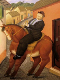 horse paintings Promo Codes - Fernando Botero Man horse on canvas Home Decor Handpainted &HD Print Oil Painting On Canvas Wall Art Canvas Pictures 200205