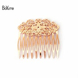 celtic hair combs Coupons - flower comb BoYuTe 10 Pieces 6 Colors Plated 10 Forks 55*60mm Filigree Flower Comb Hair Women Hair Accessories