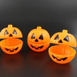Mini-box für süßigkeiten online-Orange Kürbis Eimer Halloween Requisiten Tisch Ornamente Mini lustige Artikel Trick Treat Candy Box Fall mit Deckel GGA2600