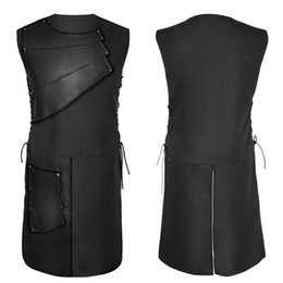 2019 jupe cosplay l Hommes en cuir suédé patchwork Jupe 1 pièce À lacets Chaque taille Club Stage Costume Cosplay Costume Moyen Âge NON-Manches Jupes Sexy jupe cosplay l pas cher