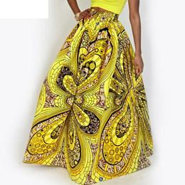 Elástica cintura alta maxi saia on-line-2019 Mulheres Africano Dashiki Elastic Outono Inverno Verão Maxi Saia Da Praia Floral Imprimir Cintura Alta Plissado Até O Chão Saia Longa J190626