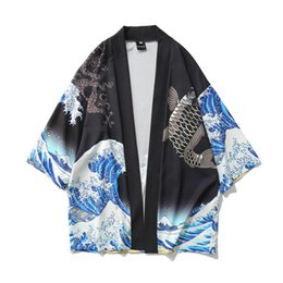 Canada Hommes Streetwear Waves Imprimé Style Japonais Cardigan Kimono Vestes Hip Hop Homme Survêtement Décontracté Manches Trois-quarts Offre
