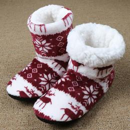 zapatillas de casa de felpa Rebajas La venta caliente-invierno de la piel de las mujeres de pelo caliente de la casa zapatillas de felpa de algodón de Navidad Chanclas Zapatos Zapatos de suelo cubierta Inicio Claquette